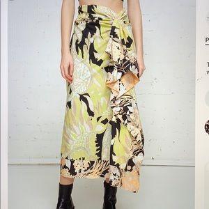 Dries Van Noten draped cotton skirt